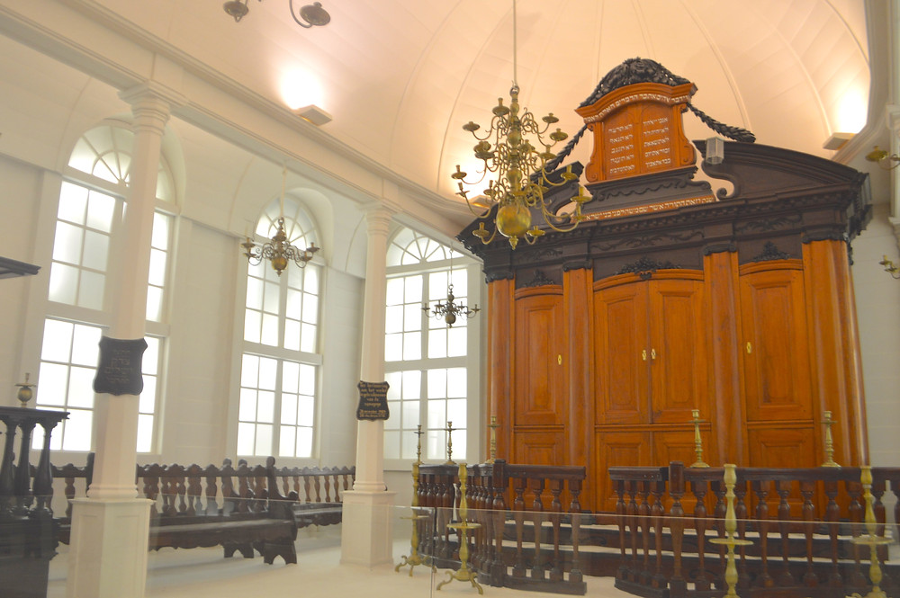 The Torah ark, or hikhal, of the Tzedek v'Shalom synagogue was made in Paramaribo in the 1800s of mahogany, cedar and ebony.