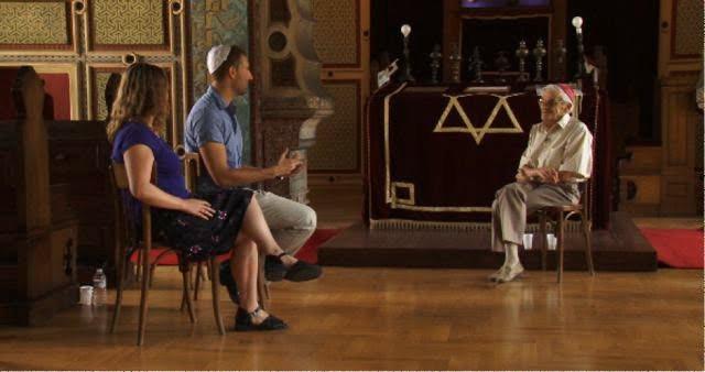 ryan Kirschen, Susanna Zaraysky and Holocaust survivor Moris Albahari.