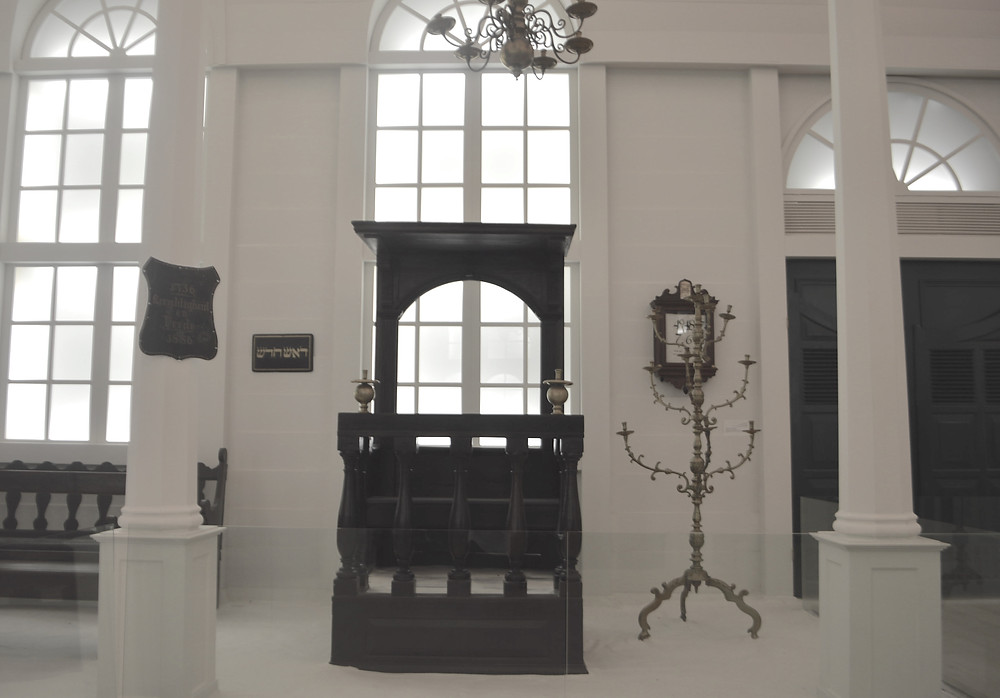 Bench for the rabbi of the Tzedek v'Shalom synagogue,in Paramaribo in the late 1800s.
