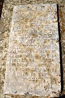 Headstone in Ladino on the grave of Judit, daughter of Behor Saragosi, in the Gallipoli cemetery(Courtesy).