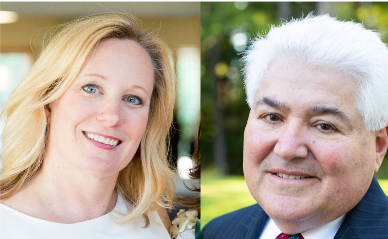Composite image of Executive Director Michelle Theroux, left, and Board Chair Frank Orlando, right.