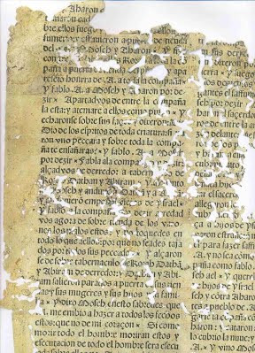 "Loose sheet of the 1547 edition of the ""Ferrara Bible."""