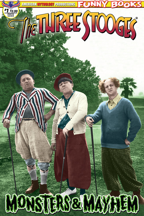 Three Stooges Monsters & Mayhem Color Photo Cover