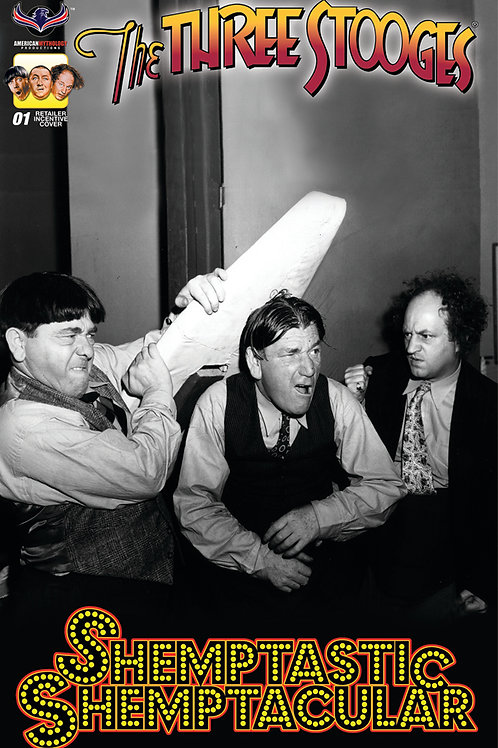 Three Stooges Shemptastic Shemptacular Retailer Incv B&W Photo Cover
