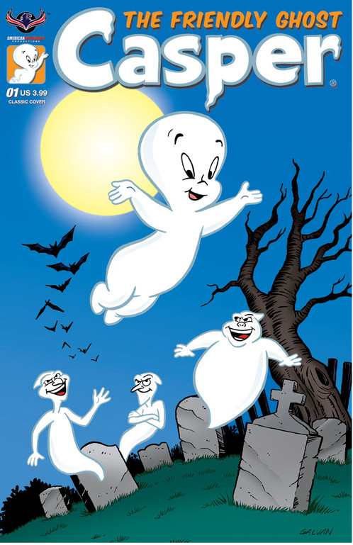 casper the friendly ghost flying over a cemetery with other ghosts following him