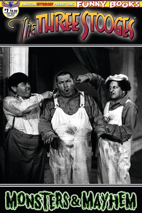 Stooges Monsters & Mayhem Ltd Ed 1/350 B&W Photo Cover