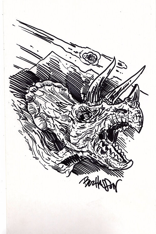 The Land That Time Forgot #1 Hand Drawn Triceratops Sketch Cover
