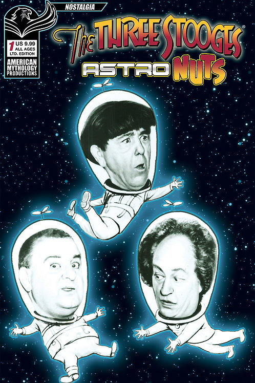 Three Stooges Astro Nuts #1 Ltd Ed 1/350 B&W Photo Cvr
