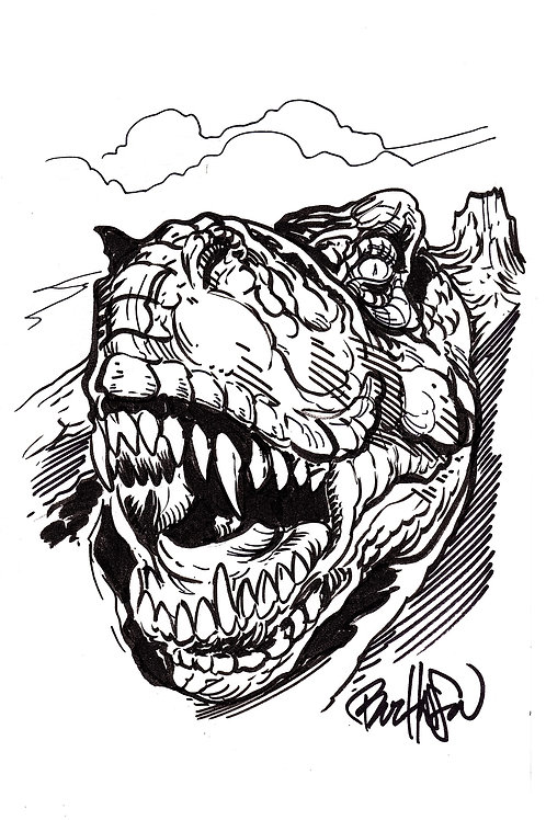 The Land That Time Forgot #1 Hand Drawn T-Rex Sketch Cover