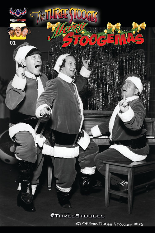 The Three Stooges Merry Stoogemas #1 B&W Photo Retailer Incv Cover