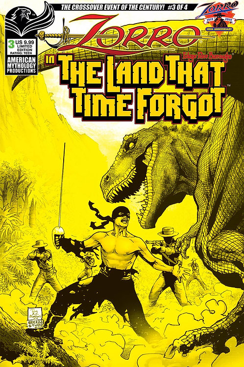 Zorro In The Land That Time Forgot #3 1/350 Ltd Ed Pulp Cvr