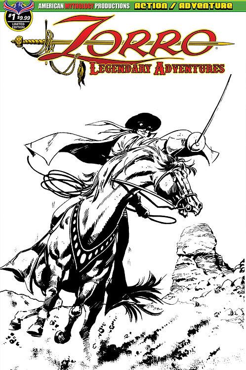 Zorro Legendary Adventures #1 Ltd Ed 1/400 B&W Cvr