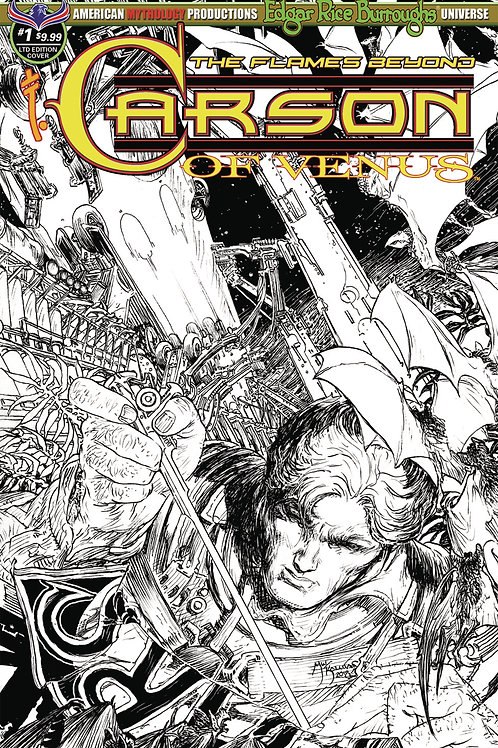 Carson of Venus #1 Flames Beyond 1/450 Ltd Ed B&W Kaluta Cvr