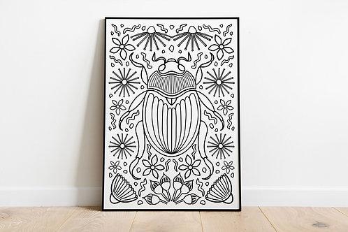 Christmas Beetle Colouring Poster