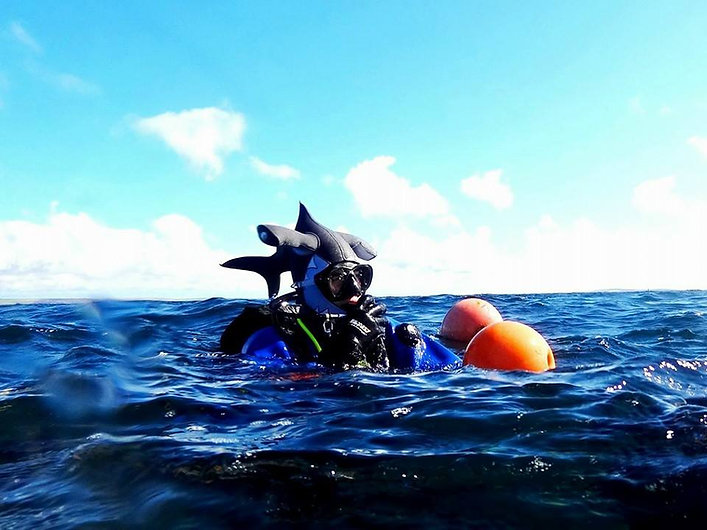 A PADI Divemaster easy to spot underwater with his Hammerhead Shark hood.