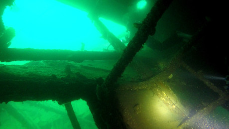 Looking out from inside the SMS Dresden on our PADI Wreck Diver Course UK.