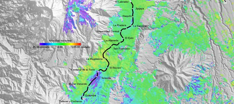 Deformacion del terreno subsidencias metro de Quito