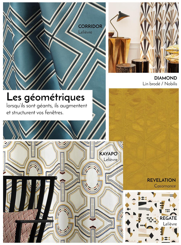 Tissus géométriques pour rideaux par J.P Manufacture tapissier décoratrice 78