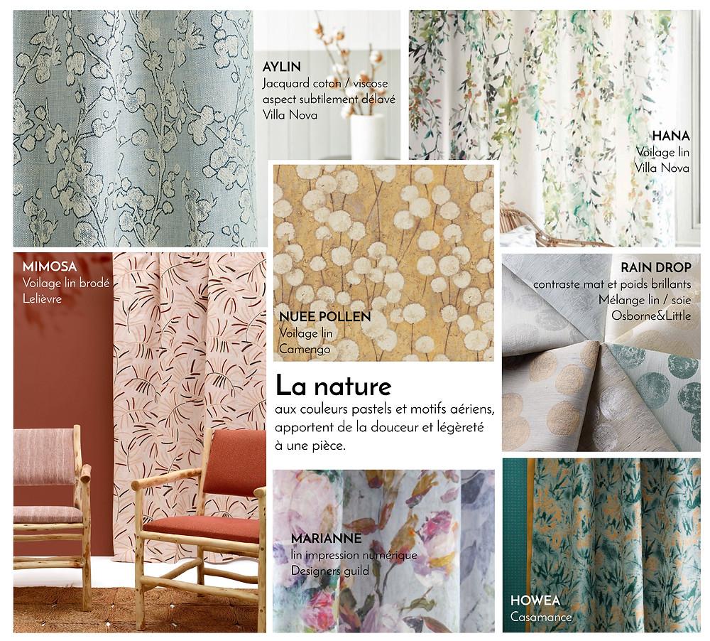 Tissus pour rideaux thème la nature par J.P Manufacture Tapissier décoratrice