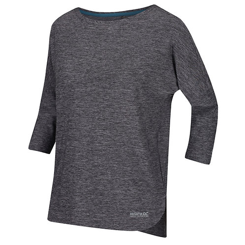 Funktions T-Shirt mit 3/4-Arm für Damen grau