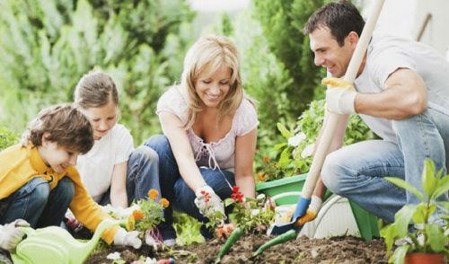 family planting a garden