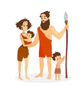 cavemen-family-stone-age-vector-22829748