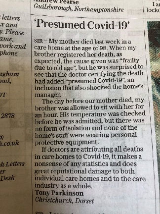 newspaper letter to editor false covid f