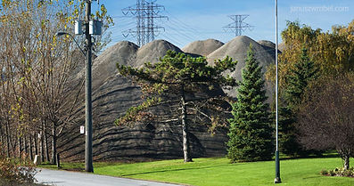 Piles of recycled construction materials in Hamilton, Ontario