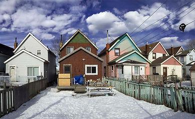 Back alley view of Hamilton, Ontario neighbourhood