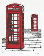 Phone Booth Woodcut