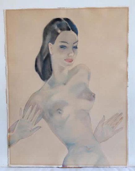 Boris Semenovitch Smirnov (1894-1976). Nu de femme. Aquarelle et crayon.