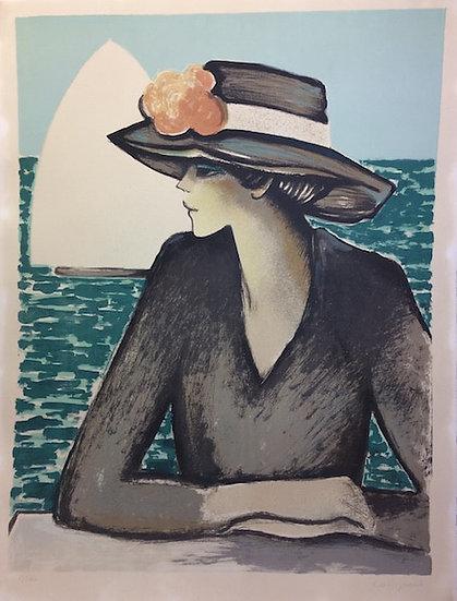 Jean-Pierre Cassigneul. Femme au chapeau. Lithographie signée.
