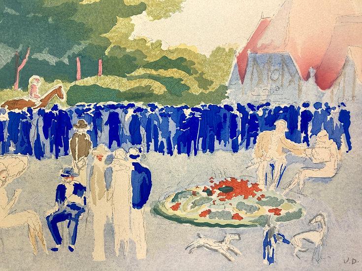 Kees Van Dongen.  Le Grand prix de Normandie. Pochoir. 1920