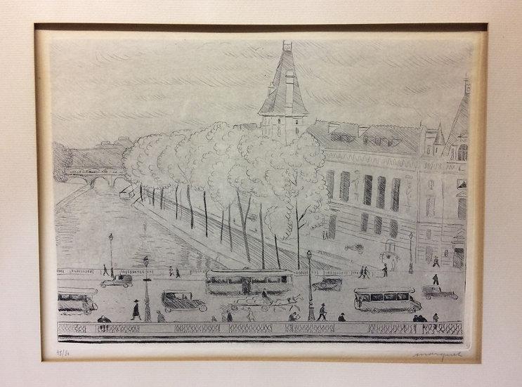 Albert Marquet (1975-1947). Le Pont Saint-Michel, Paris. 1929. Signé et numéroté