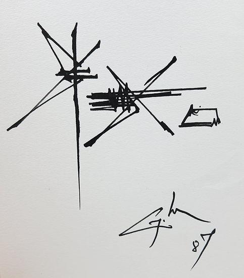 Georges Mathieu (1921-2012). Dessin à l'encre. 1987.