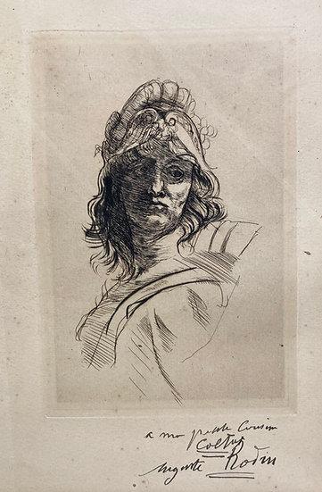 Auguste Rodin : Buste de Bellona. 1883. Pointe sèche originale. Signée.