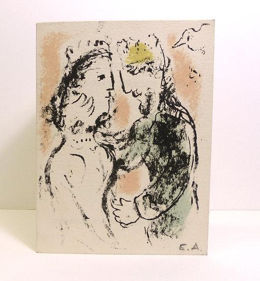 Marc Chagall. La tendresse - Carte de voeux 1980. Lithographie.