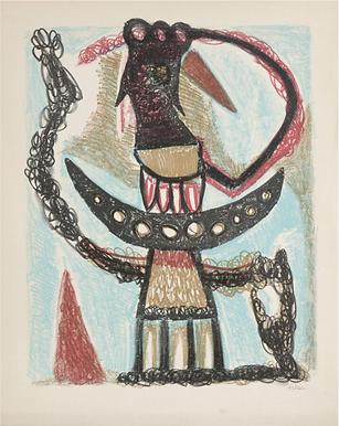 Jean-Michel Atlan(1913-1960) Sans titre, 1953 Lithographie originale signée.