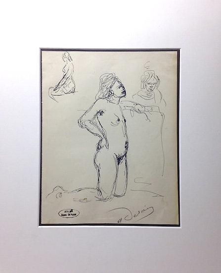 André Derain (1880-1954). Etude de nu. Encre sur papier signée.
