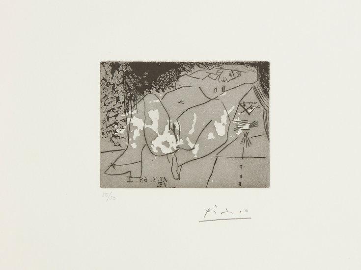 Pablo Picasso(1881-1973). Jeune femme et «mousquetaire». Aquatinte. 1968.