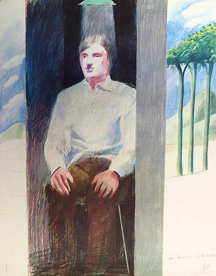 David Hockney (born in 1937). Prisoner. Lithographie signée. 1975.