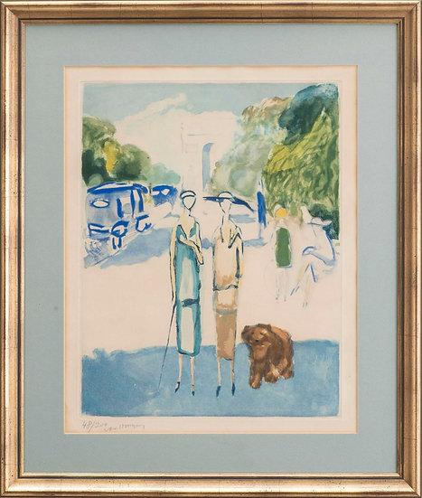 Kees Van Dongen (1877-1968) Avenue du Bois, 1928. Aquatinte signée.