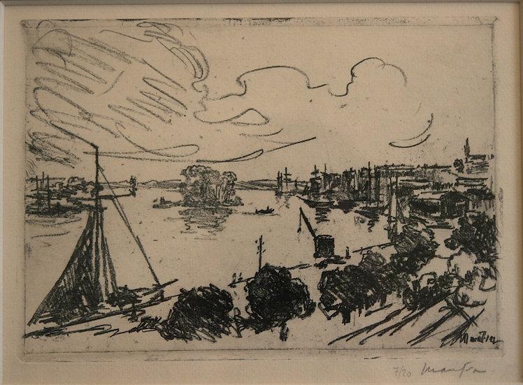 Maxime MAUFRA (1861-1918). Vue de Port. Eau-forte.