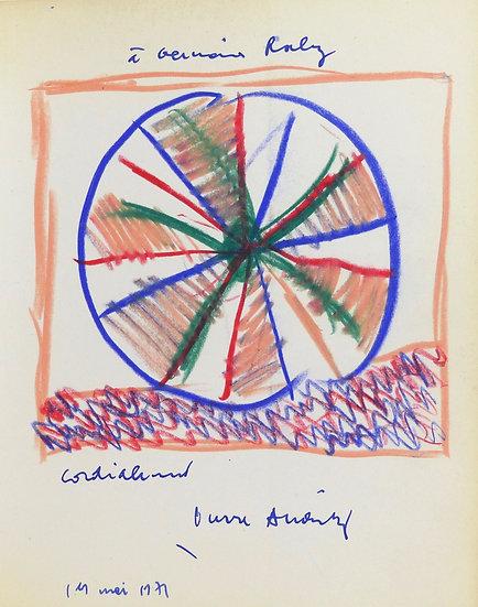 Pierre Alechinsky (né en 1927). Dessin original signé et daté. 1971.