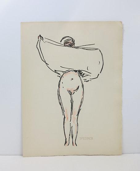 Kees Van Dongen (1877-1968). Femme se dénudant. Eau-forte. 1967.