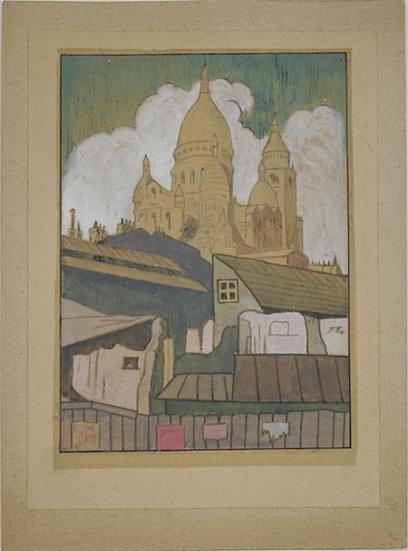 Jean Lébédeff (1884-1972). Le Sacré Coeur. Aquarelle.