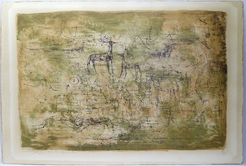 Zao Wou-Ki. Les cerfs, 1952. Lithographie. Signée et numérotée.