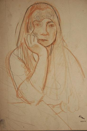 Georges Kars. Femme au voile. Sanguine et crayon. Double dessin.