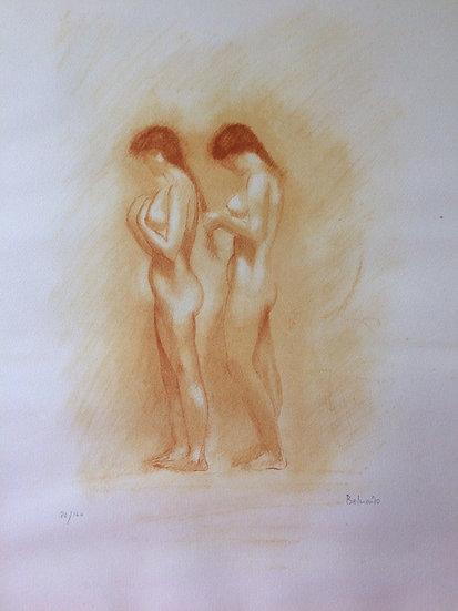 Paul Belmondo (1898-1982). Nus. Lithographie à la manière de la sanguine. Signé.