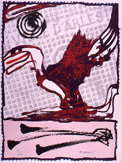 Pierre Alechinsky. Alechinsky sur Rhône. 1990. Lithographie signée.